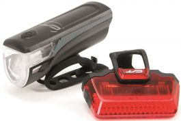 Far + stop CONTEC Speed Led USB - 20lux - negru/gri