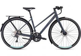 Bicicleta SPECIALIZED Women's Sirrus Sport EQ Step-Through - Black Top LTD Satin Cast Battleship/Light Turquoise L