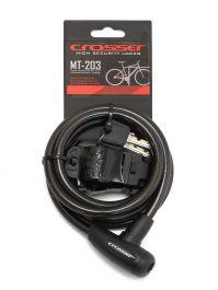 Incuietoare cablu CROSSER MT 203 - Cheie - 10mm*1800mm Negru