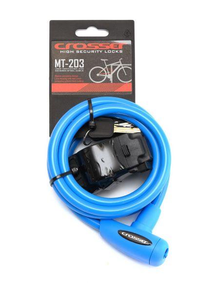 Incuietoare cablu CROSSER MT 203 - Cheie - 10mm*1800mm Albastru