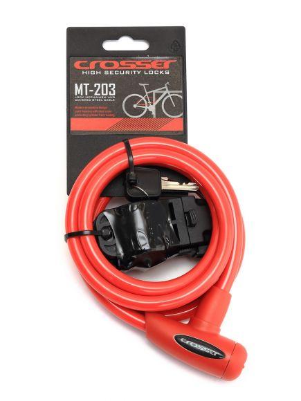 Incuietoare cablu CROSSER MT 203 - Cheie - 10mm*1800mm Rosu