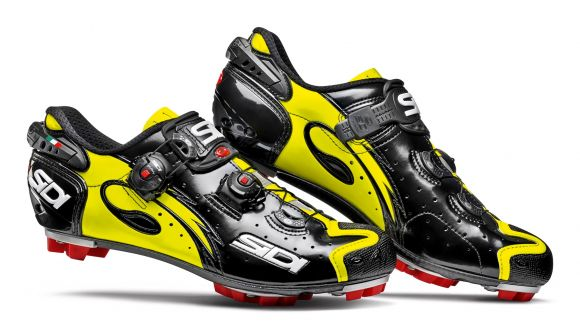 Pantofi MTB SIDI Drako Carbon SRS negru / galben fluo 43.5