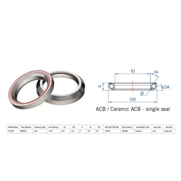 "Rulment cuvete FSA TH-870S ACB 45x45 1""1/8 singleS MR042S"