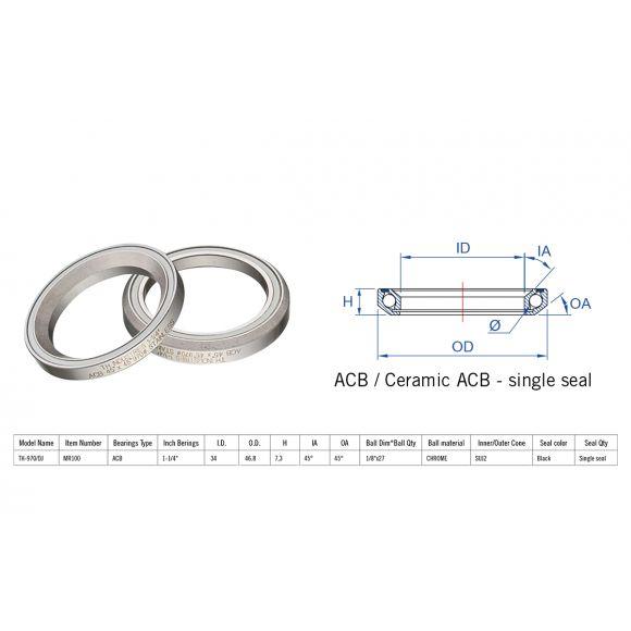 "Rulment cuvete FSA TH-970/DJ ACB 45x45 1""1/4 singleS MR100"