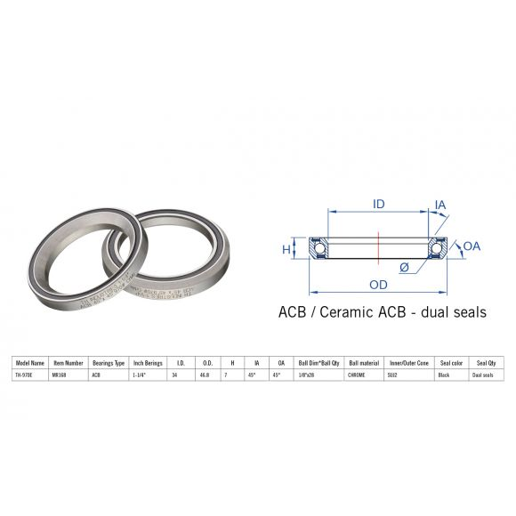 "Rulment cuvete FSA TH-970E ACB 45x45 1""1/4 dualS MR168"