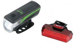 Far + stop CONTEC Speed Led USB - 20lux - negru/verde