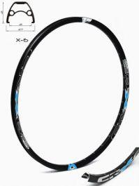 Janta CROSSER X6 28'' 32H negru / albastru - capsata
