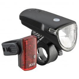 Far + stop AXA Greenline 35 lux USB 1 led - Negru